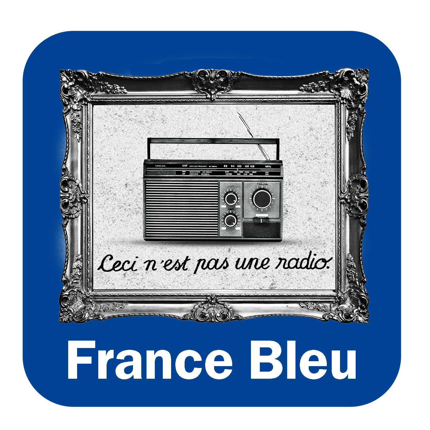 Note in blue France Bleu Alsace